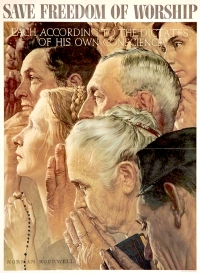 Save freedom of worship.1943 Norman Rockwell (USA) copy